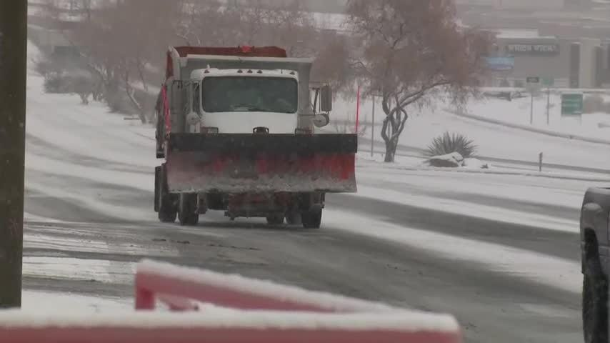 An overnight storm has prompted more than 200 closures and delays across New Mexico. Forecasters say as much as 6 inches of snow is expected in some areas of Albuquerque. (Feb. 19)