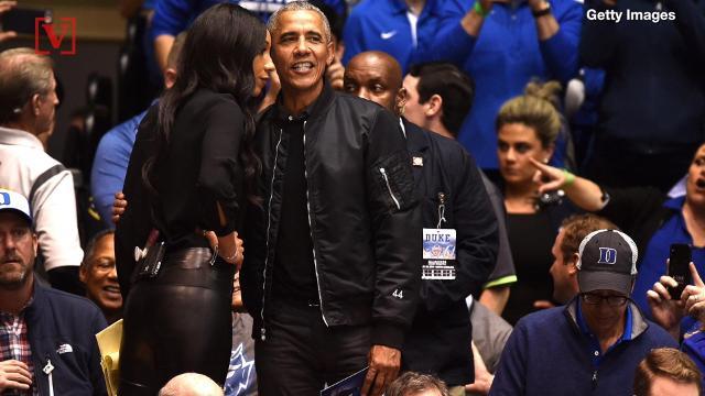 See Obama's fashionable 'O-bomber' jacket at Duke-UNC game
