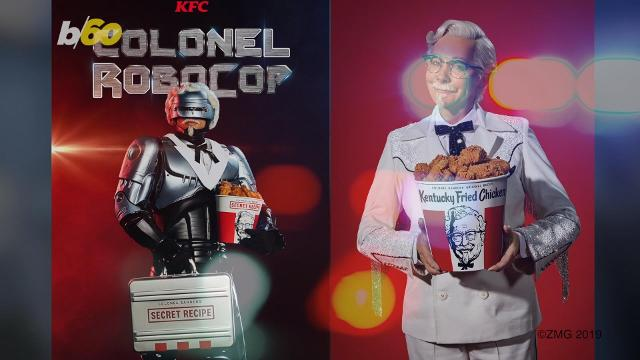 KFC hires RoboCop as Col. Sanders, to safeguard its secret recipe. Take that, Ray Liotta!