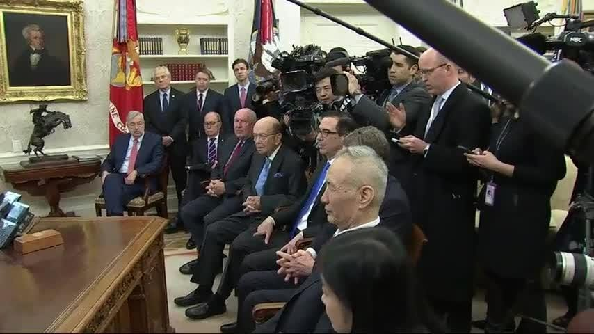 President Donald Trump says he will consider delaying a March 1 deadline to reach a trade deal before he would escalate his tariffs on $200 billion in Chinese imports. (Feb. 22)