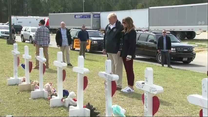 Donald Trump visits 23 crosses left for Alabama tornado victims