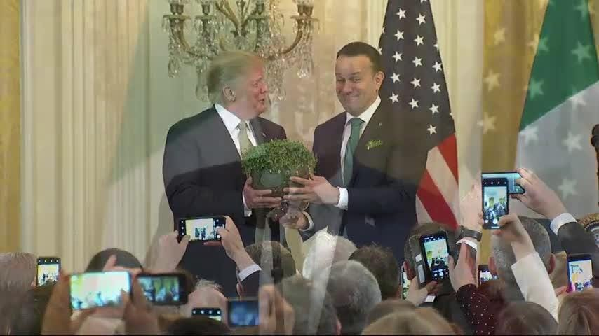 Trump receives Shamrock Bowl from Irish PM