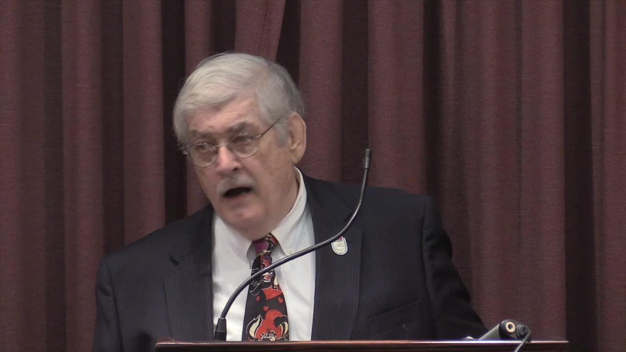 Councilman Dan Johnson's attorney Thomas McAdam addresses media