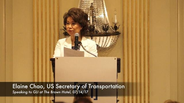 U.S. Secretary of Transportation Elaine Chao speaks at The Brown Hotel on July 14, 2017.