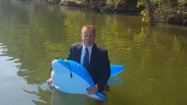Zachary Eckels is serious about his job as new leader of the Schaffner Traditional Elementary School dolphins.