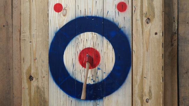 Instead of darts, how about axes. At Flying Axes in Louisville, you and your friends can have an axe throwing competition and enjoy refreshments.