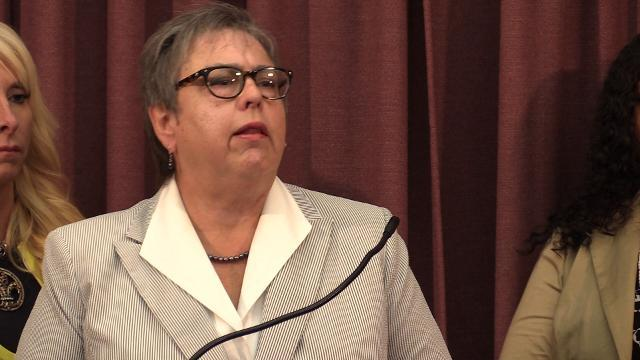 Attorney Deborah Kent makes remarks during Dan Johnson impeachment press conference