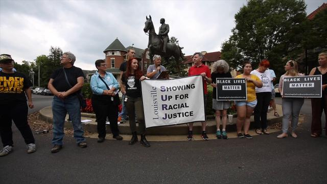 Protesters demand the removal of Castleman statue in Cherokee Triangle