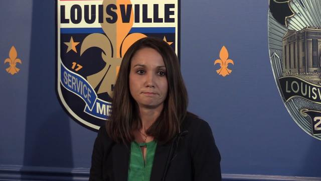 """LMPD Lt. Emily McKinley talks about the arrest of Wyatt """"Wytell"""" Williams, 23, in connection with the murder of 7-year-old Dequante Hobbs Jr., who died after he was shot while in his kitchen."""