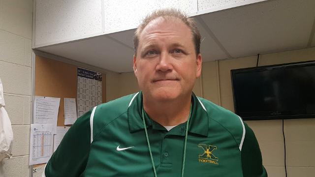 St. Xavier Coach Will Wolford talks about Brett Metzmeier's four-touchdown game Friday night.