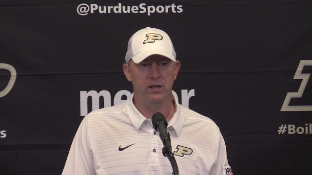 Purdue coach Jeff Brohm talks about tough loss to Louisville