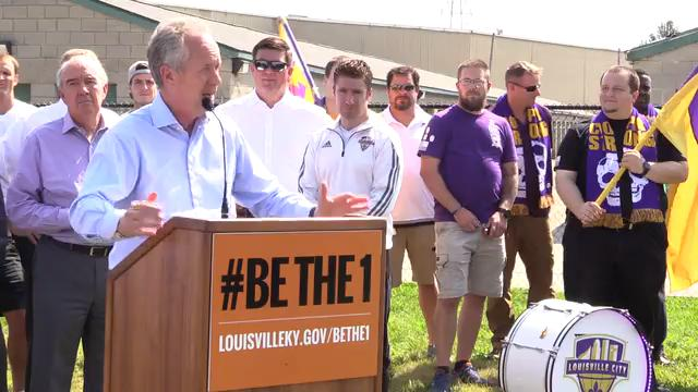 Mayor Greg Fischer explaines the benefits and costs of building a Louisville city soccer stadium