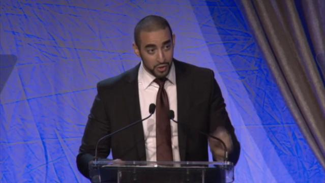Mohammed Ashour promoted universal health care and denounced racism as he accepted the Conviction Principle Award during the Muhammad Ali Humanitarian Awards.