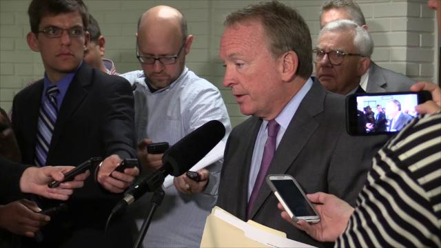 U of L interim Pres. Dr. Greg Postel speaks about the athletics personnel developments and SACS standards progress with media following a morning session with the U of L Board of Trustees.
