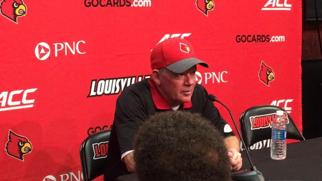 Louisville coach Bobby Petrino discusses the Cards' 45-42 defeat to Boston College. Oct. 14, 2017