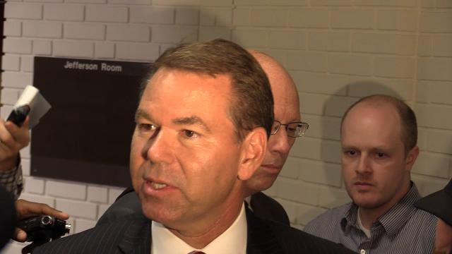 Vince Tyra addressed reporters after U of L votes to fire Tom Jurich