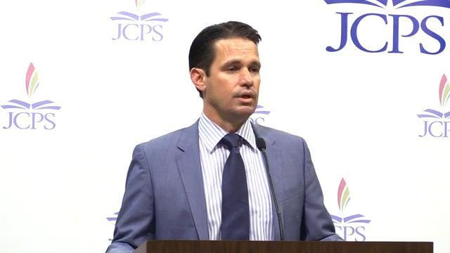 JCPS Acting Superintendent, Dr. Marty Pollio, adressed reporters