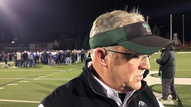Trinity coach Bob Beatty says his team's defense and running game showed their strength in a 49-17 win against Simon Kenton. Nov. 17, 2017