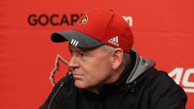 Louisville's coach Bobby Petrino talks after the Cards demolish Syracuse