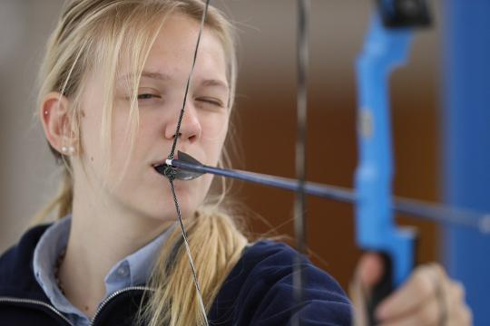 Bethlehem High School junior Faith Oakley is ranked in the top 10 high school archers in the world.  An inspiration to many she uses a mouth strap to pull her bow string after a birth injury left her without the use of her right arm.