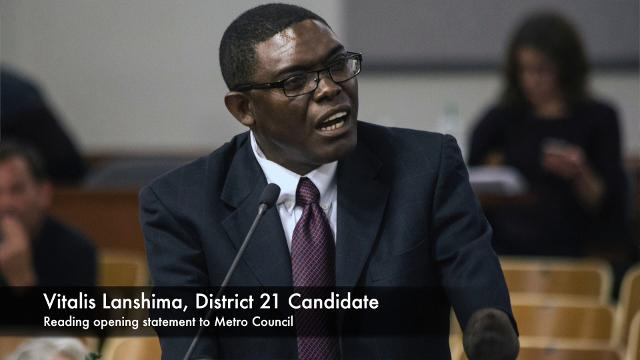 Several candidates to represent Metro Council District 21 were interviewed Monday night. The candidates seek to replace Dan Johnson, who was removed after a series of sexual harassment incidents.