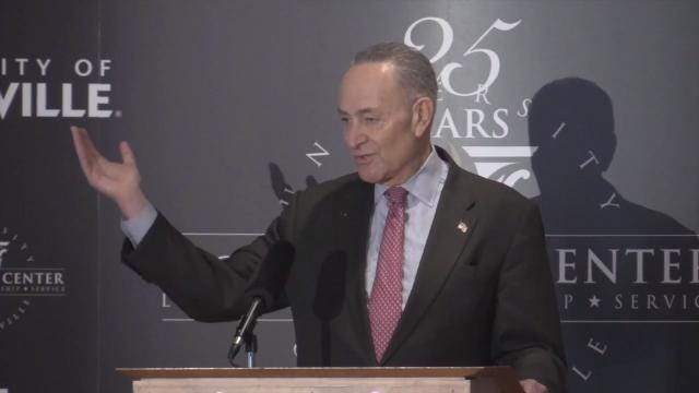 While in Louisville speaking at U of L's McConnell Center, Sen. Chuck Schumer, D-NY, discusses how to maintain jobs in the era of automation.