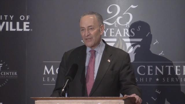 While speaking at the University of Louisville's McConnell Center on Monday, Sen. Chuck Schumer, D-NY, says Rand Paul is only concerned about deficit when it's convenient.