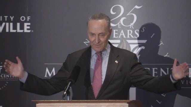 Sen. Chuck Schumer said immigration won't be easy during remarks at the McConnell Center in Louisville.