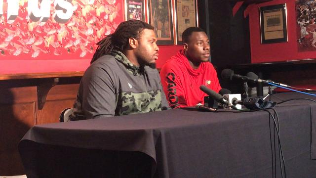 Lukayus McNeil, Jawon Pass speak to reporters after workouts Feb. 15.