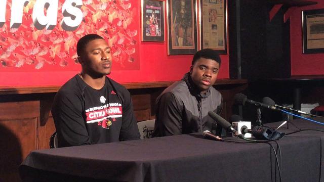 P.J. Mbanasor and Jonathan Greenard speak to media on Feb. 15.