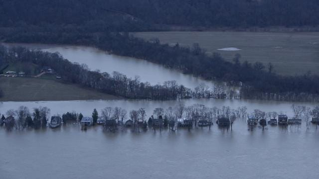 Birds-eye video of flooding in Kentucky and Indiana