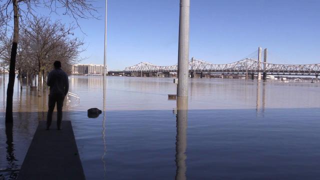 Flood damage along waterfront park