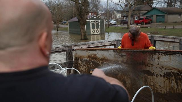 Dirty jobs: Flood clean-up in Utica, Indiana