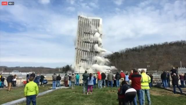 The 28-story building in Kentucky capital city came down at 1:30 in Frankfort.