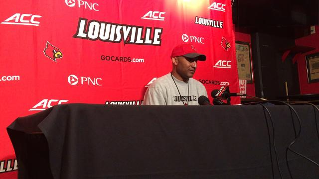 Louisville co-offensive coordinator Lonnie Galloway speaks after the team's first practice of the spring.