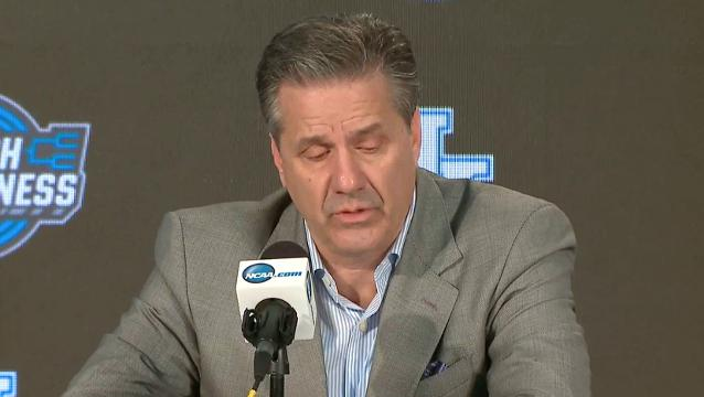 Kentucky players and Calipari talk after the Cats get knocked out of NCAA Tournament