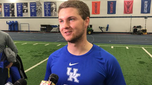 Austin MacGinnis after workouts for NFL scouts at UK's pro day on Friday, March 23, 2018.