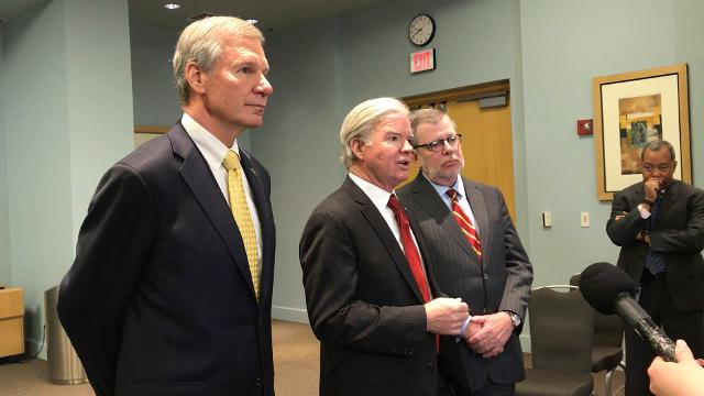NCAA president Mark Emmert, along with Georgia Tech president Bud Peterson and Minnesota president Eric Kaler, offered some initial thoughts on the Commission on College Basketball's report.
