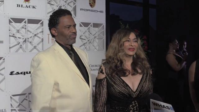 Tina Knowles (Beyonce's mom) and Richard Lawson arrive at the Trifecta Gala ahead of the 2018 Kentucky Derby.
