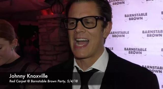 Actor Johnny Knoxville speaks with the media at the Barnstable Brown Derby Eve Gala.