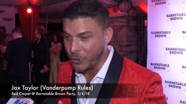 Jax Taylor of Vanderpump Rules speaks with the media at the Barnstable Brown Derby Eve Gala.