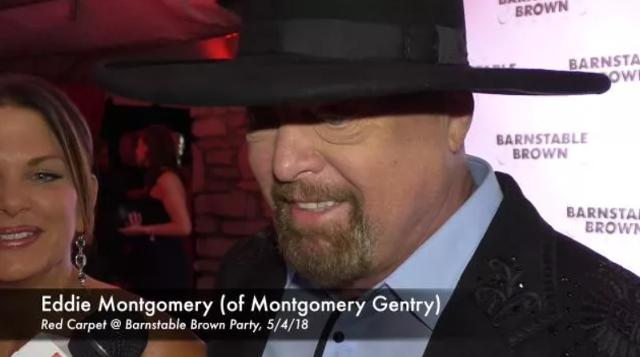 Country star at Kentucky native Eddie Montgomery speaks with the media at the Barnstable Brown Derby Eve Gala.
