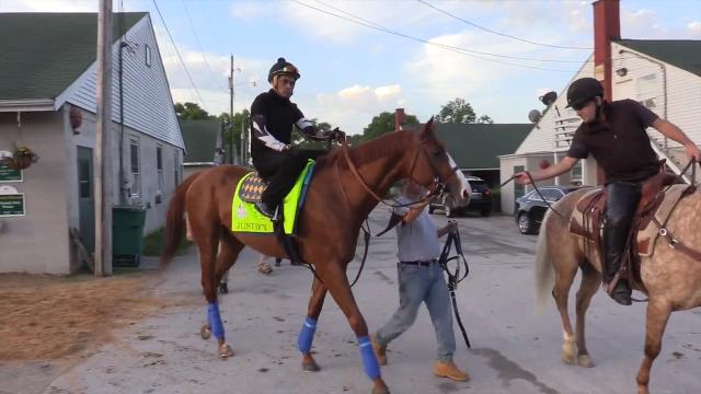 Kentucky Derby winner Justify works out at Churchill Downs. The horse had a bruised heel but seems fine now, according to assistant trainer Jimmy Barnes.