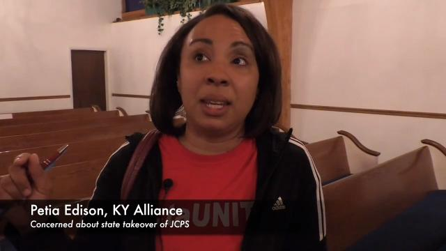 Roughly 100 people filled the pews of King Solomon Missionary Baptist Church to learn about the proposed state takeover of Jefferson County Public Schools.