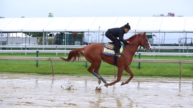 Before the 2018 Preakness Stakes, trainer Bob Baffert talks about the track differences between Churchill Downs and Pimlico. Baffert also said Justify wanted to run more on the rainy Thursday morning.  May 17, 2018