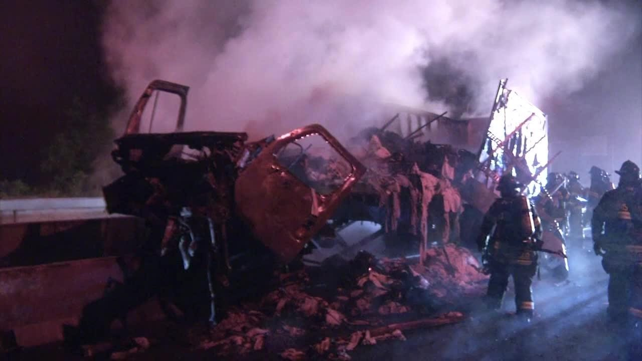 Tractor-trailer crash, fire affects morning commute