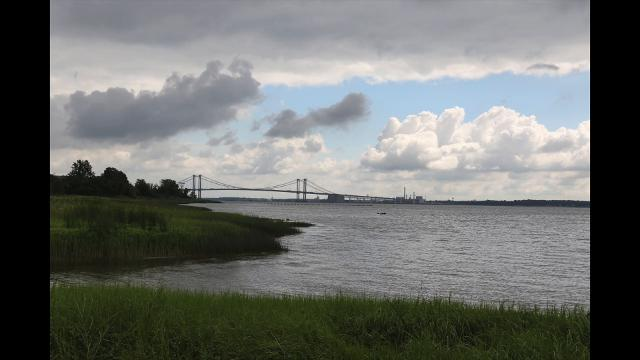 After a night of rough storms, clouds roll across the Delaware River over the Delaware Memorial Bridge.