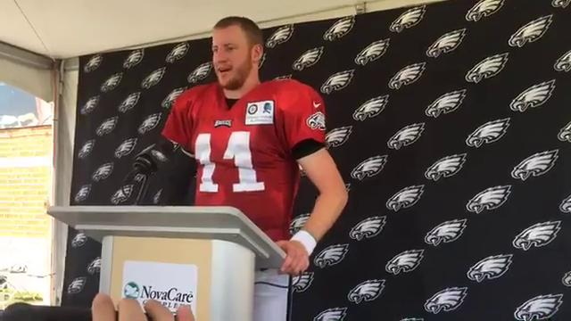 Carson Wentz hosts a post-practice press conference.