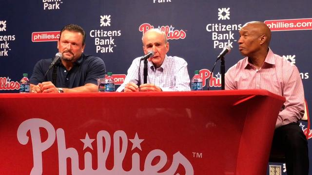 Phillies chairman David Montgomery and former teammates Tommy Greene and Milt Thompson reminiscence about their favorite memories of Darren Daulton.