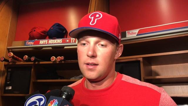 Rhys Hoskins, one of the Phillies' top prospects, discusses earning his first MLB call up and adapting to a new position in left field.